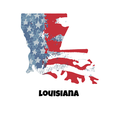 State of Louisiana. United States Of America. Vector illustration. Watercolor texture of USA flag.