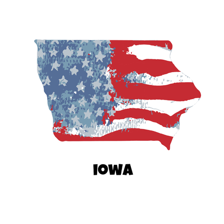 State of Iowa. United States Of America. Vector illustration. Watercolor texture of USA flag.