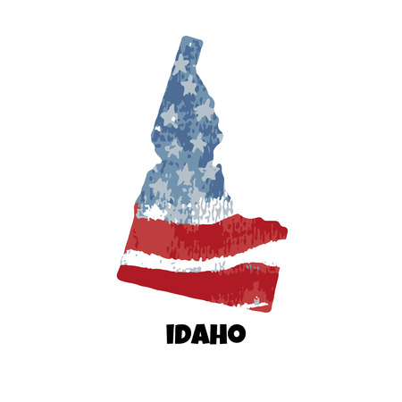 State of Idaho. United States Of America. Vector illustration. Watercolor texture of USA flag.