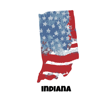 State of Indiana. United States Of America. Vector illustration. Watercolor texture of USA flag.