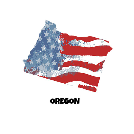 State of Oregon. United States Of America. Vector illustration. Watercolor texture of USA flag.  イラスト・ベクター素材