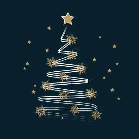 Merry Christmas and Happy New Year greeting card. Stylized  Christmas tree decorated with golden stars on a white background. Vector illustration.