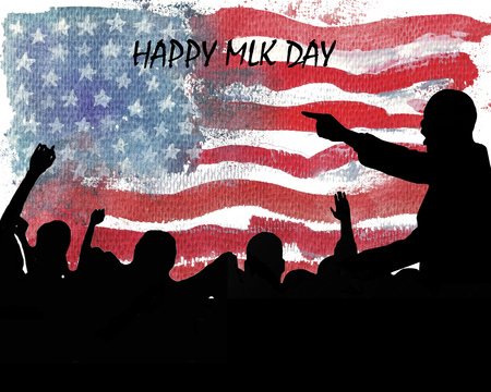 IIlustration of Martin Luther King, Jr. speaking to people. Ð¡elebrate MLK day. American flag texture.