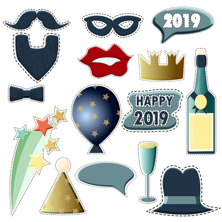 A set of attributes for photo shoots at the New Years party 2019. New Year Photo Booth Props New Years Eve 2019. Vector illustration. Bottle of champagne balloon mustache beard hat red lips   イラスト・ベクター素材
