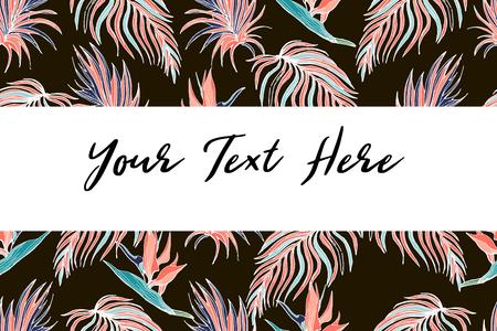Marco tropical en hojas de palma coralina y monstera. Fondo tropical para invitación de boda, tarjetas de felicitación, cubiertas, superficie, impresión, envoltura, scrapbooking.