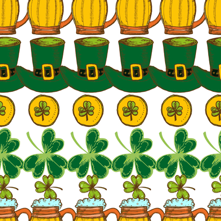 St. Patrick's Day background. Vector seamless pattern with irish symbols of St. Patrick' s holiday. Vettoriali