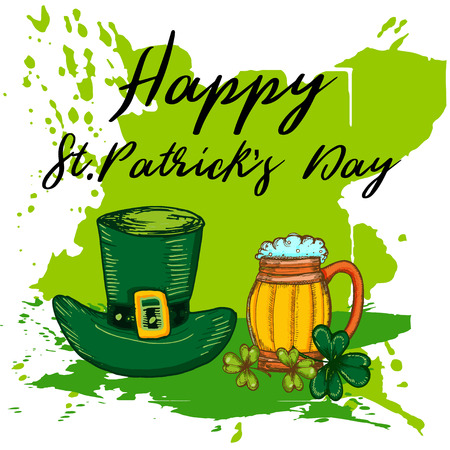 Happy St. Patricks Day celebration poster. Vector hand drawn  illustration of leprechaun hat, shamrock leaf and mug of beer on a abstract green paint splash background.