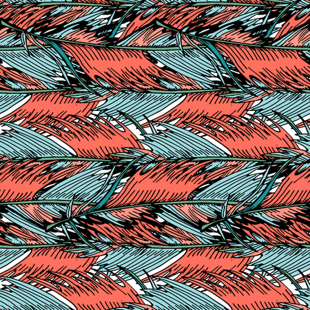 Exotic tropical  palm leaves colorful tropical flowers seamless vector pattern trendy living coral background for textile, wallpaper, pattern fills, covers, surface, print, wrap, scrapbooking.