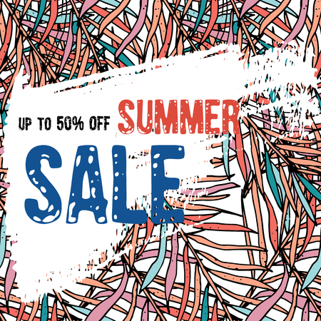 Text Summer  sale, discount banners.Tropical background with palm leaves in living coral colors main trends of season with grunge elements, ink drops, abstract background. Vector illustration Çizim