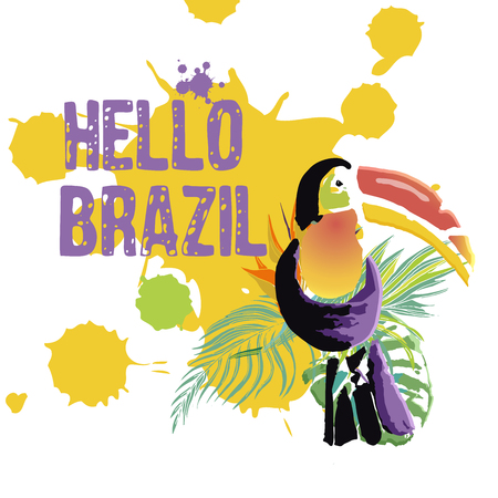 Hand drawn multicolor tropical background,grunge texture and toucan for Brazil carnival poster, greeting card, party invitation, banner or flyer. Vector Illustration Illustration