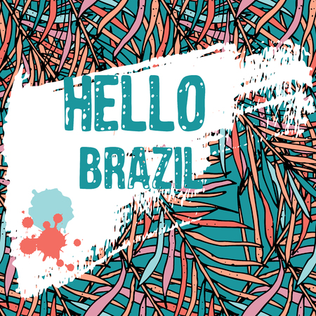 Hand drawn multicolor tropical background and grunge texture for Brazil carnival poster, greeting card, party invitation, banner or flyer. Vector Illustration