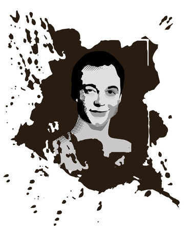 Novorossyisk, Russia - February 19, 2019: Portrait of a Sheldon Cooper сharacter from the popular TV Series The Big Bang Theory. Grunge texture, artwork, monochrome vector illustration. Vector Illustration