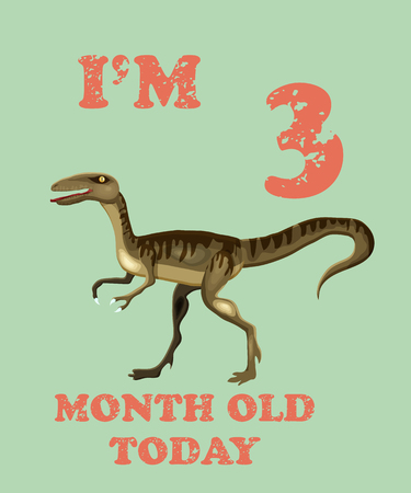 Vector baby milestone card for girl or boy.Today Im 3  month old. Illustration of a dinosaur.