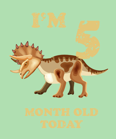 Vector baby milestone card for girl or boy.Today Im 5  month old. Illustrartion of a dinosaur. Illustration