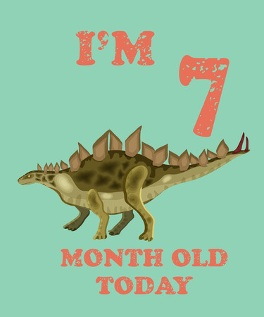 Vector baby milestone card for girl or boy.Today Im 7  month old. Illustration of a dinosaur. Illustration