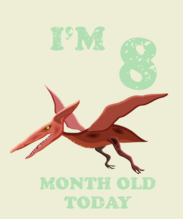 Vector baby milestone card for girl or boy.Today Im 8  month old. Illustration of a dinosaur.