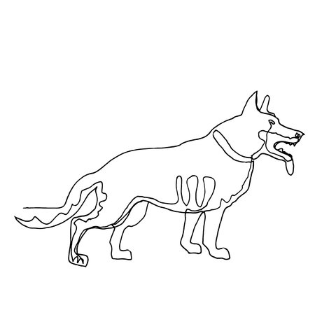 Continuous one line drawing. Dog. Minimalism style. Vector Ink illustration of German Shepherd  for your design, card, banner, poster, flyer.