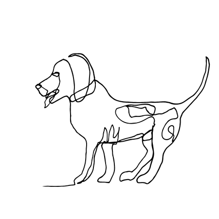 Continuous one line drawing. Dog. Minimalism style. Vector Ink illustration of Beagle for your design, card, banner, poster, flyer. Illustration
