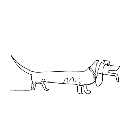 Continuous one line drawing. Dog. Minimalism style. Vector Ink illustration of Beagle for your design,logo, card, banner, poster, flyer. Illustration