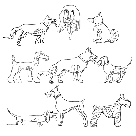 Continuous one line drawing. Dogs. Minimalism style. Vector Ink illustration for your design,logo, card, banner, poster, flyer. Illustration