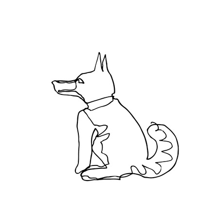 Continuous one line drawing. Dogs. Minimalism style. Vector Ink illustration of  Husky for your design, card, banner, poster, flyer.