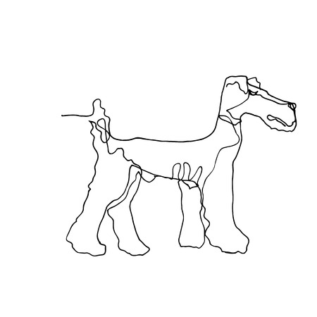 Continuous one line drawing. Dog. Minimalism style. Vector Ink illustration of Airedale Terrier for your design,logo, card, banner, poster, flyer.