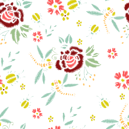 Embroidery Stitches With Roses, Meadow Flowers, Dragonflies. Vector Fashion Seamless Pattern For Fabric, Textile Decoration, Wallpaper, Scrapbooking, Wrapping. Illustration