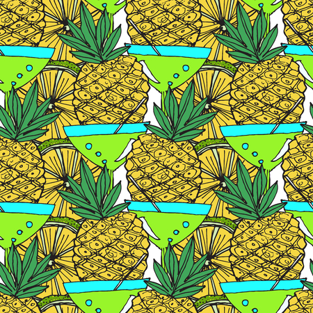 Bright Fruit Pattern With Cocktails And Pineapples. Colorful Background  For Textile Or Book Covers, Manufacturing, Wallpapers, Print, Gift Wrap And Scrapbooking. Illustration
