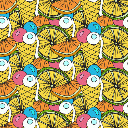 Bright Fruit Pattern With Cocktails, Citrus Fruits, Ice Cream And Pineapples. Colorful Background  For Textile Or Book Covers, Manufacturing, Wallpapers, Print, Gift Wrap And Scrapbooking. Illustration