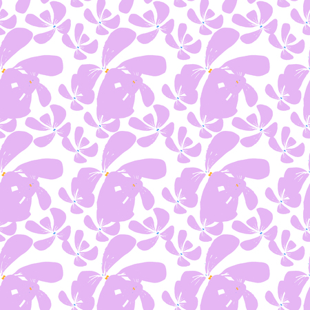 Cute hand drawn vector floral seamless pattern with delicate pink tropical flowers on a white background.