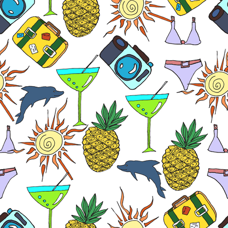 Travel and vacation concept, summer theme. Tropical fruits, sunshine, bikini, cocktails. Colorful bright seamless background. Illustration