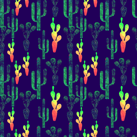Cinco de Mayo background. Watercolor texture seamless pattern with cactus, sombrero, guitar, maracas