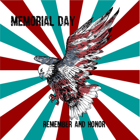 American bald eagle with the text Memorial day remember and honor. Celebration of all who served. American holiday poster. Фото со стока - 122701243
