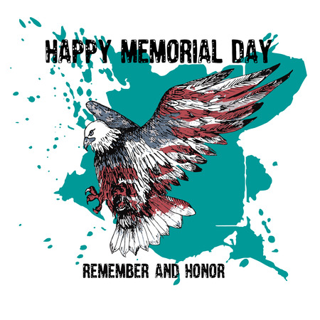 American bald eagle with the text Memorial day remember and honor. Celebration of all who served. American holiday poster.