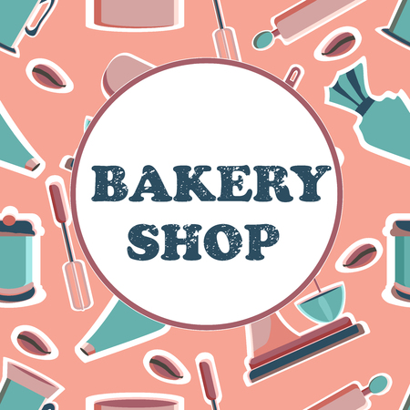 Banner for the bakery shop. Tools for pastry maker. Vector illustration.
