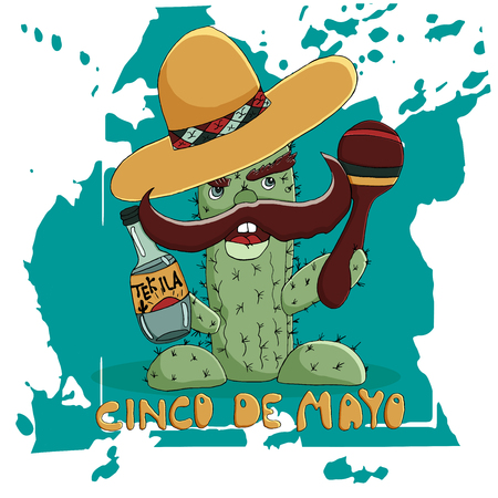 Happy Cinco de Mayo greeting card. Hand drawn vector character. Cactus in a sombrero with  a bottle of tequila