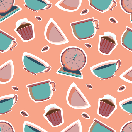 Mixer, blender, kitchen scales, shaker, timer, bowls, plates for the bakery shop. Tools for pastry maker. Vector illustration. Seamless background.