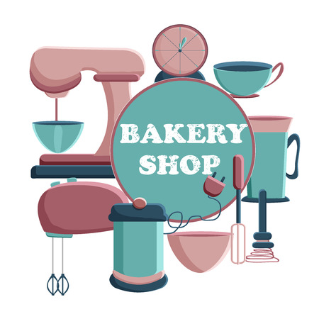 Banner for the bakery shop. Tools for pastry maker. Vector illustration. Vecteurs