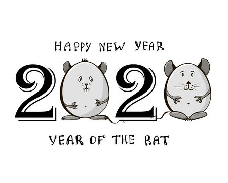 Cute little rats with the date 2020. Chinese new year of the rat. Chinese Zodiac sign for greetings card, invitation, posters, banners, calendar.