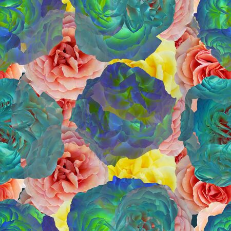 Cute beautiful colorful roses. Seamless floral photo background. Digital mixed media artwork for wrapping paper, wallpaper design, textile, fabric, apparel.