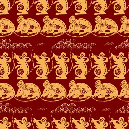 Chinese lunar new year background. Rat - symbol 2020 New Year. Cloud, rat, sakura. Vector illustration for wrapping, poster, greeting cards, wallpaper.