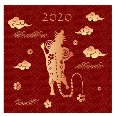Chinese zodiac sign of the rat with the date 2020. Chinese new year background for greetings card, invitation, posters, banners, calendar.