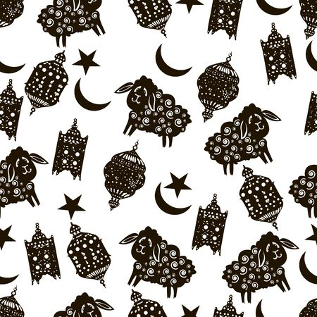 Vector Ramadan seamless background. Islamic holiday greeting card. Arabic lanterns, goats, lambs, crescent, stars. Islamic symbols.