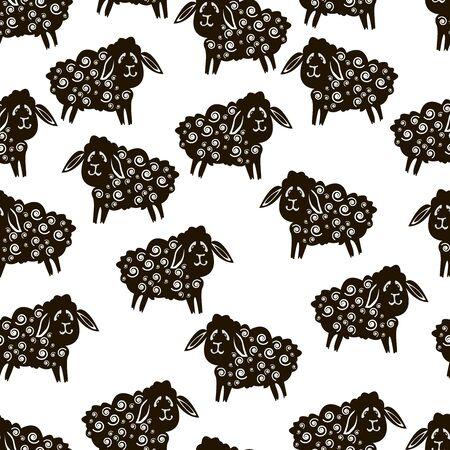 Vector Ramadan seamless background. Islamic holiday greeting card. Arabic lanterns, goats, lambs, crescent, stars. Islamic symbols. Illusztráció