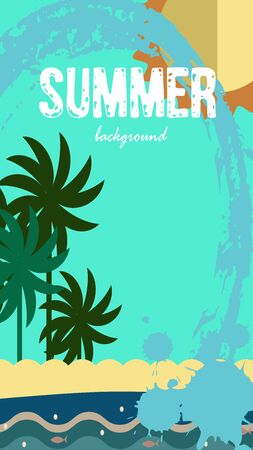 Vector set of social media stories templates. Summer bright tropical backgrounds with fruits, palms, flamingo, toucan, ice creams, beach.