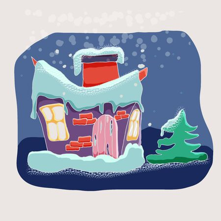 Cute vector winter cartoon landscape with funny little house  in the snow among the Christmas trees. Can be used for Christmas greeting cards, posters for the design of a children's room Foto de archivo - 130122594