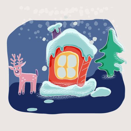 Cute vector winter cartoon landscape with funny little house  in the snow among the Christmas trees. Can be used for Christmas greeting cards, posters for the design of a childrens room Stock Illustratie