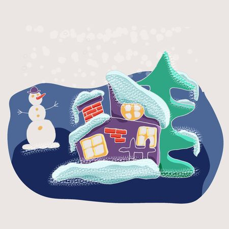 Cute vector winter cartoon landscape with funny little house  in the snow among the Christmas trees. Can be used for Christmas greeting cards, posters for the design of a children's room Foto de archivo - 130122596