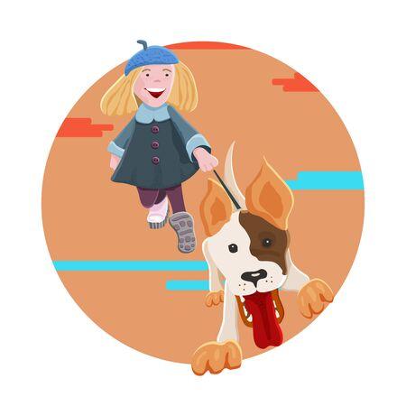 Funny blonde teen girl walking  a dog. Autumn theme. Vector cartoon illustration.
