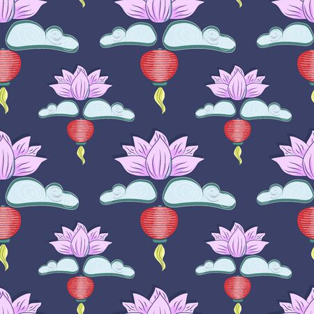 Mid autumn festival background with rabbits, moon cake, lotus, clouds and chinese lanterns. Vector seamless pattern.